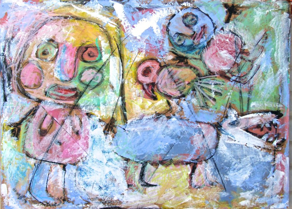 Composition of figures in pastel