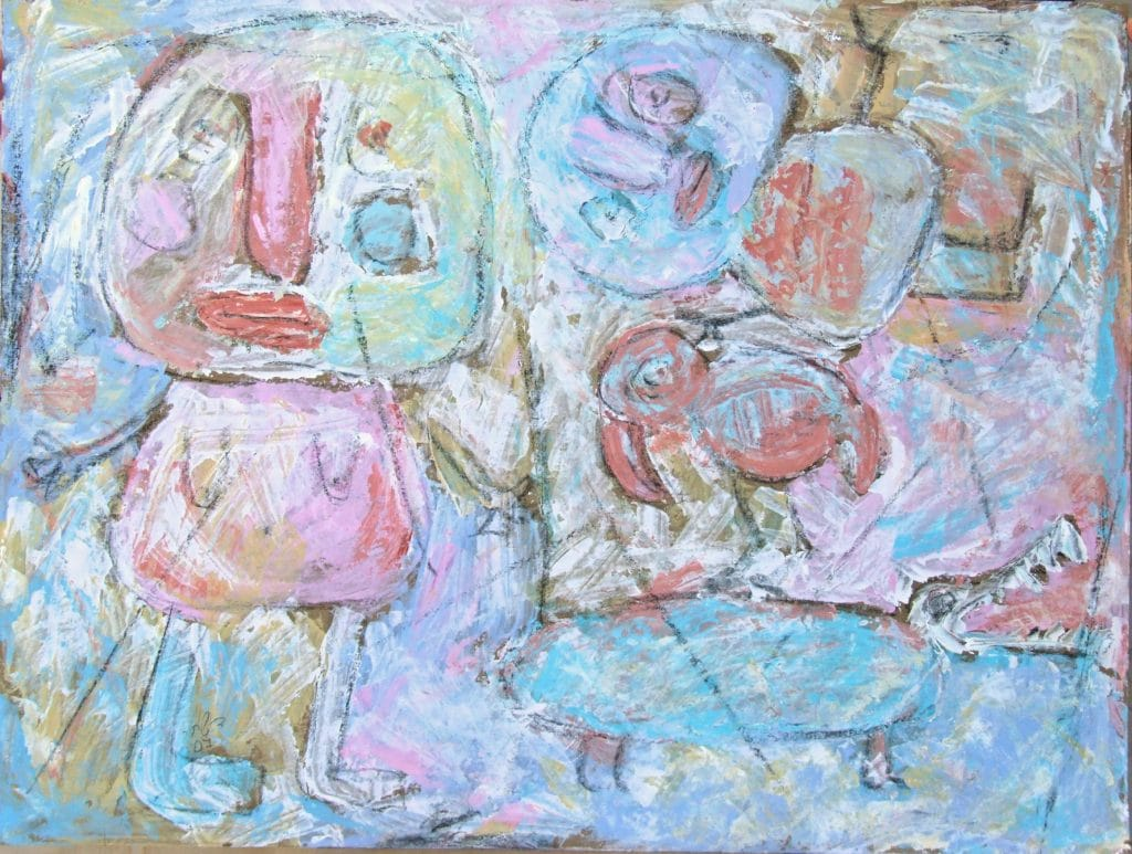 Composition of figures in light pastels